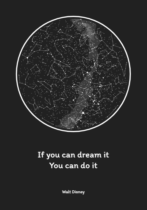 Personalizowana mapa gwiazd na ścianę. Idealny prezent - tekst inspiracja